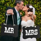 2Pcs Mr and Mrs Photo Props Photo Booth Chair Signs Wedding Decor Just Married