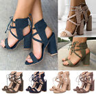 Women Lace Up Gladiator Block Heel Sandals Clubwear Strappy Party Shoes US 5-9