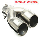 76mm 3 Chrome Universal Car Stainless Steel Dual Exhaust Pipe Muffler Tail Tip