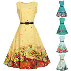 50S 60S ROCKABILLY DRESS Vintage Style Swing Pinup Retro Housewife Party Dress L