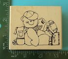 Hooks Lines Inkers TEDDY BEAR with a BACKPACK Rubber Stamp Hiking School