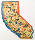 Vintage California Post Card USA State Shaped Map Jumbo Letter Collectors item