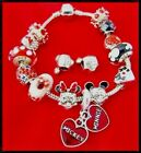 DISNEY MICKEY MINNIE MOUSE STAINLESS STEEL CHARM BRACELET POLKA DOT GLASS BEAD