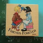 All Night Media FRIENDS FOREVER Rubber Stamp Two Girls Mary Engelbreit