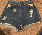Vintage Fancy Ass Jeans Cut Off Shorts Distressed Leather Trimmed Pockets