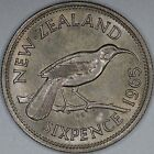 New Zealand 6 Pence 1965 Brilliant Uncirculated *~*Final Pre-Decimal Issue*~*