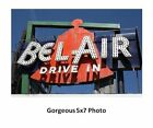 Bel Air Drive-In Theater Sign PHOTO Route 66 Movie Theater, ILLINOIS, 1950-1979