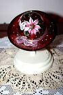 FENTON GLASS RED CHRISTMAS HAND PAINTED HAT SIGNED BY ARTIST W STAND