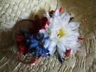 HAND MADE PATRIOTIC FLOWER CORSAGES SET OF TWO RED WHITE BLUE