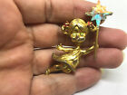 TWO Rhinestones Girl Holding Wand BROOCH Pin Gold Tone