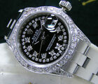 Rolex Ladies DateJust with Papers 18kt White Gold Steel Black Diamond Dial Bezel