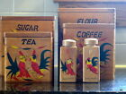 1951 TILSA Authentic Never Used Cock Fighting Rooster Nesting Canister Set + S