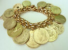 Vintage 12K GF Gold Filled Charm Bracelet Foreign World Coin Coins Charms