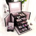 Luxurious Large Black Leather Jewelry Box Travel Case Storage with Mirror