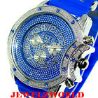 Mens Blue/Silver Ice Nation Watch Iced Out Hip Hop Bullet Band Wrist Watch