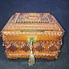 Antique Tramp Art Box Ornate Hinged Coin Bank with Lock & Key 5 1/2