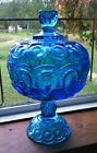 Large Teal Laser Blue Moon Stars Lidded Compote Candy Dish