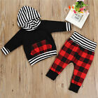 Toddler Kids Baby Boys Girls Hooded Tops+Pants 2PCS Outfits Clothes Set US STOCK
