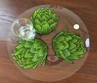 Vintage DOROTHY THORPE Artichoke Glass Plate With Butter Cup Original Label