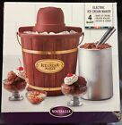 NEW Nostalgia Vintage Collection 4 Quart Wood Bucket Electric Ice Cream Maker