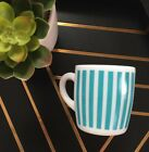 Vintage Hazel Atlas Candy Stripes Aqua Turquoise Striped Milk Glass Coffee Mug