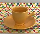 Vintage Fiestaware Yellow Stick Handled Demi Cup and Saucer Fiesta Demitasse