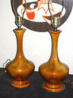 PAIR MID CENTURY DANISH MODERN CERAMIC DRIP GLAZED TABLE LAMPS