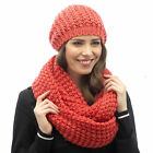 Tom Franks Women's Cable Knit Beanie Hat OR Scarf OR Beanie Hat with Scarf