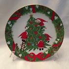 Santa's Decorating Christmas Tree Holiday Plate Gold Trim Decor JAPAN VINTAGE