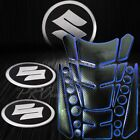 24PCs Black+Chromed Blue Fuel Tank Pad+Brushed Metal Suzuki Logo Emblem Stickers