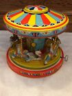 Vintage 1950s J Chein Mechanical Wind Up Tin Playland Merry Go Round Toy