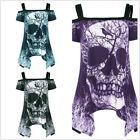 Gothic Skull printed SHIRT PLUS SIZE Women cold shoulder Tops SHIRT PUNK STYLE