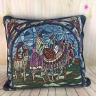 Tapestry Throw Pillow 3 Wise Men Christmas Nativity Scene Kings Angels Toss