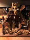 VINTAGE Depose Italy Fontanini Nativity Set Real Bark Wood Stable Creche Spider