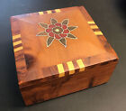 ANTIQUE WOODEN JEWELRY TRINKET BOX INLAY FLOWER HAND MADE VINTAGE 4