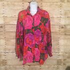 Basic Editions Pink Red Floral Print Long Sleeve 100 Silk Button Down Blouse L