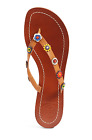 Tory Burch Marguerite Floral Beaded Leather Sandal Royal Tan 9 135
