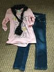 Girls Adorable Pink Blouse w scarf Kohls Sonoma Bootcut Jeans 6XR