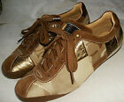 9M COACH WOMEN DRIVE SNEAKER PAM PATCHWORK BROWN GOLD LEATHER SUEDE LACE