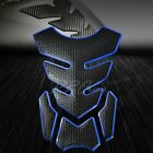 3D 4-Piece Customize Fuel Tank Pad Decal/Sticker Perforated Black+Chromed Blue