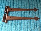 Vintage Mid Century Hammered Copper Plated English Arts  Crafts T Strap Hinges