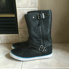 UGG AUSTRALIA NEW ANDRA1005043 BLACK LEATHER SHEARLING SNEAKER BOOTS SZ 6