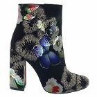 Pinky NINA 01 Black Floral Brocade Mod Ankle Boot Bootie Chunky Block Stack Heel
