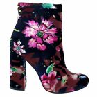 Pinky NINA 01 Purple Floral Velvet Mod Ankle Boot Bootie Chunky Block Stack Heel