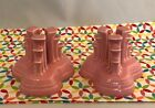 Fiestaware Rose Pyramid Candle Holders Fiesta Retired Pink Set of 2