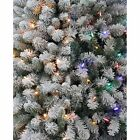 Artificial Christmas Tree Xmas Flocked Fir Pre Lit 6 FT Color Changing Lights