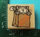 CURIOUS KITTY Rubber Stamp by Rubber Stampede Cat in Bag