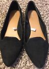 Merona Womens Black Pointed Toe Flat Shoes Size 7m Suede