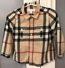 Burberry Check Print Toddler Boy Shirt Top Size 2 Years
