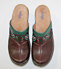 Indigo by Clarks Brown Leather Embroidered Womens Mules Clogs Shoes Size 6M
